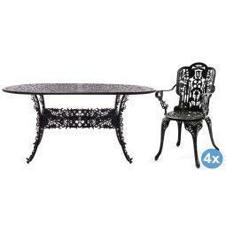 Seletti Industry Garden tuinset 152x90 tafel + 4 stoelen (armchair)