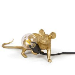 Seletti Mouse Lamp Lie down tafellamp goud zwart snoer