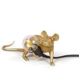 Seletti Mouse Lamp Lie down tafellamp goud zwart snoer