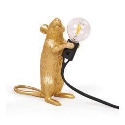 Seletti Mouse Lamp Standing tafellamp goud zwart snoer