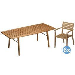 Skagerak Ballare tuinset 196/296x90 tafel + 6 stoelen