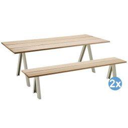 Skagerak Overlap tuinset 220x90 tafel + 2 tuinbanken