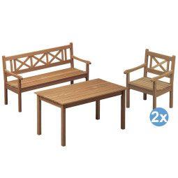 Skagerak Skagen tuinset 140x78 tafel + 2 stoelen + tuinbank