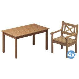 Skagerak Skagen tuinset 140x78 tafel + 4 stoelen