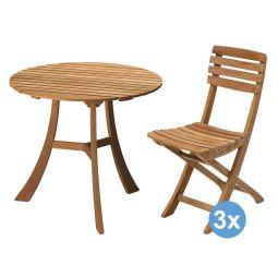 Skagerak Vendia tuinset 75 tafel + 3 stoelen