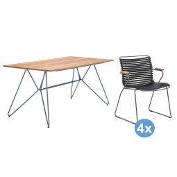 Houe Sketch Bamboo tuinset 160x88 tafel + 4 stoelen (armchair)