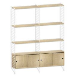 String Hoge kast medium, wit/eiken