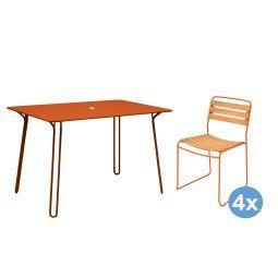 Fermob Surprising tuinset 120x77 tafel + 4 Teak stoelen