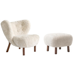 &tradition Little petra & pouf walnoot onderstel