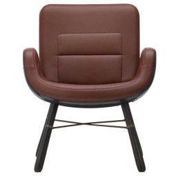 Vitra East River Chair leer met donker eiken onderstel