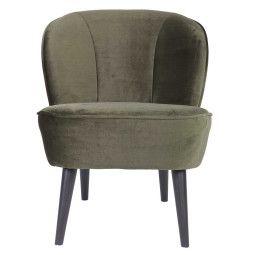 WOOOD Exclusive Tweedekansje - Sara fauteuil Fluweel warm groen