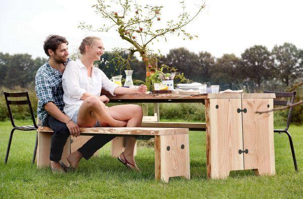 Weltevree Forestry tuinset 255x80 tafel + 2 banken
