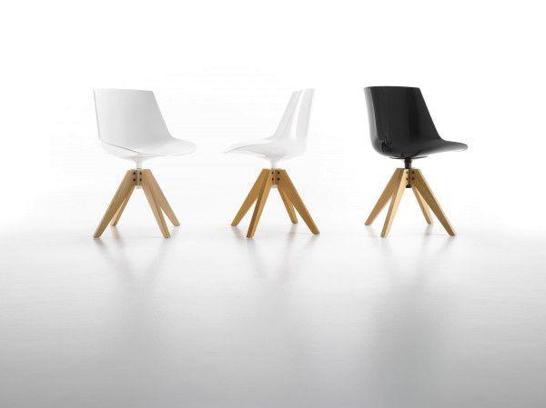 MDF Italia Flow Chair stoel met VN naturel eiken onderstel