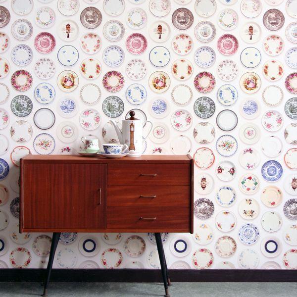 Studio Ditte Porselein Gekleurde Schotels behang