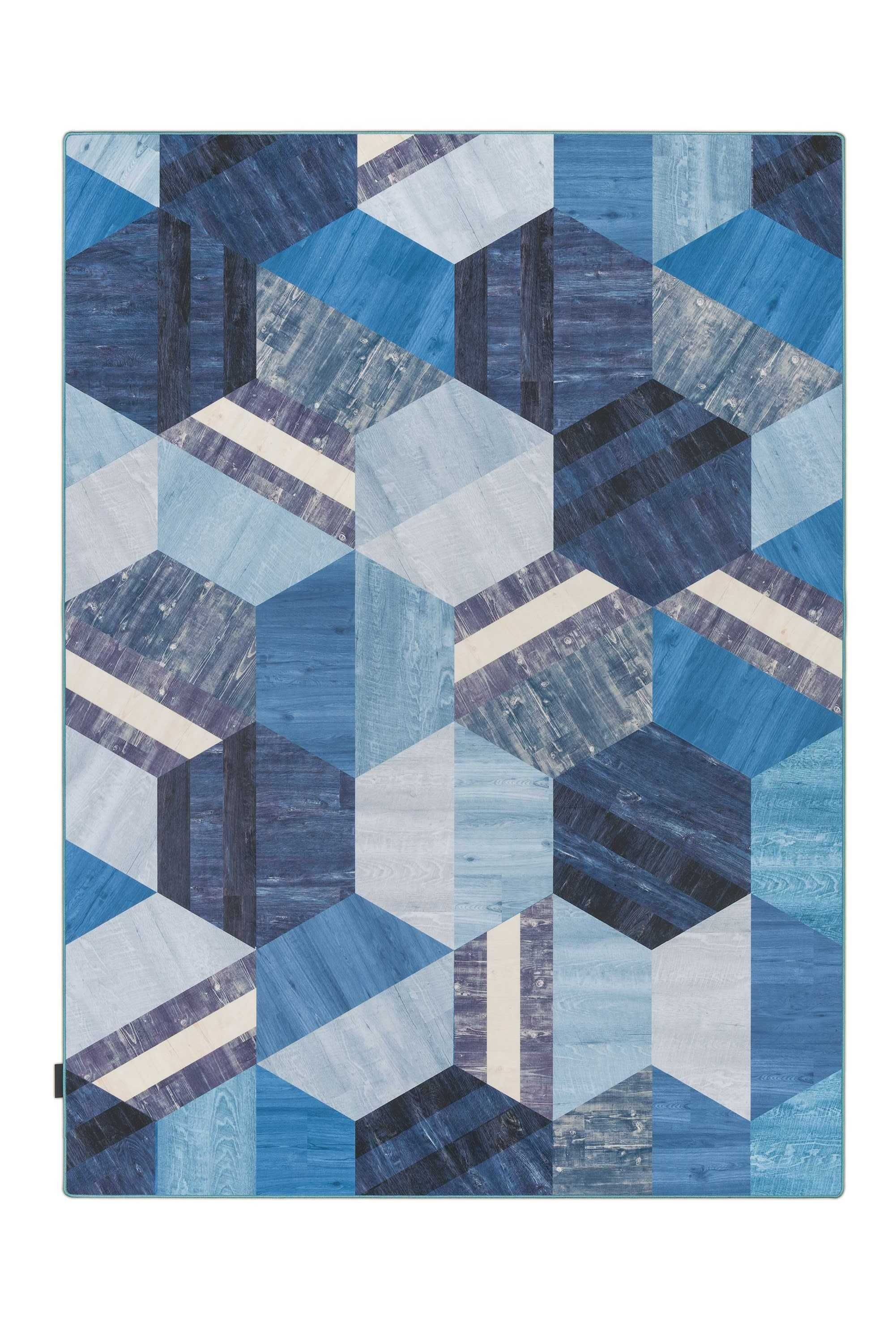Tarkett Hexagon vloerkleed vinyl 166x226 blauw
