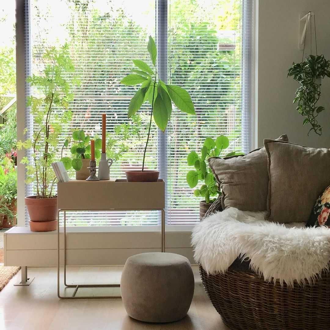 Woonkamer Woonkamer inspiratiefoto met Ferm Living Plantenbakken