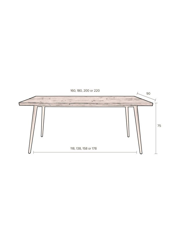 Dutchbone Alagon tafel 200x90