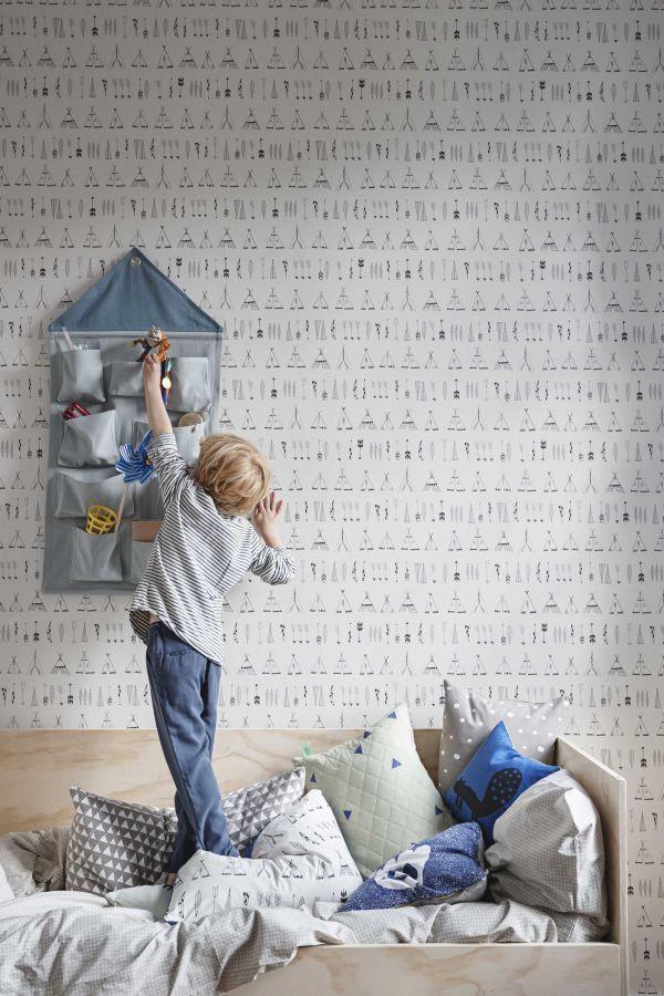 Ferm Living Grey Cross dekbedovertrek 70 x 100 cm kids
