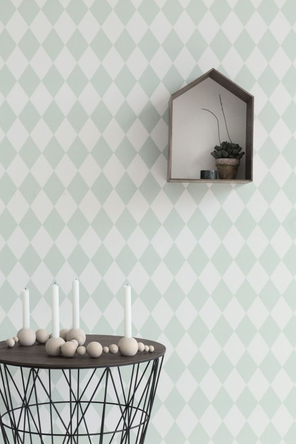 Ferm Living Tweedekansje - Harlequin behang mint