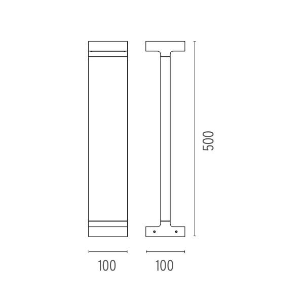 Flos Casting T 100x500 sokkellamp LED 3000K