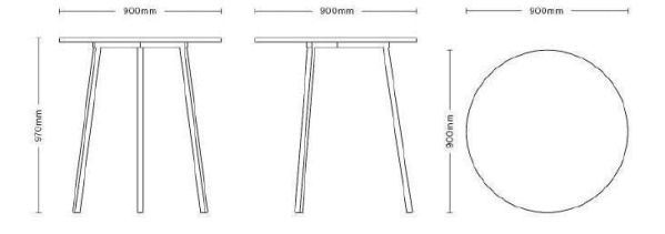 Hay Loop Stand Round High tafel 90