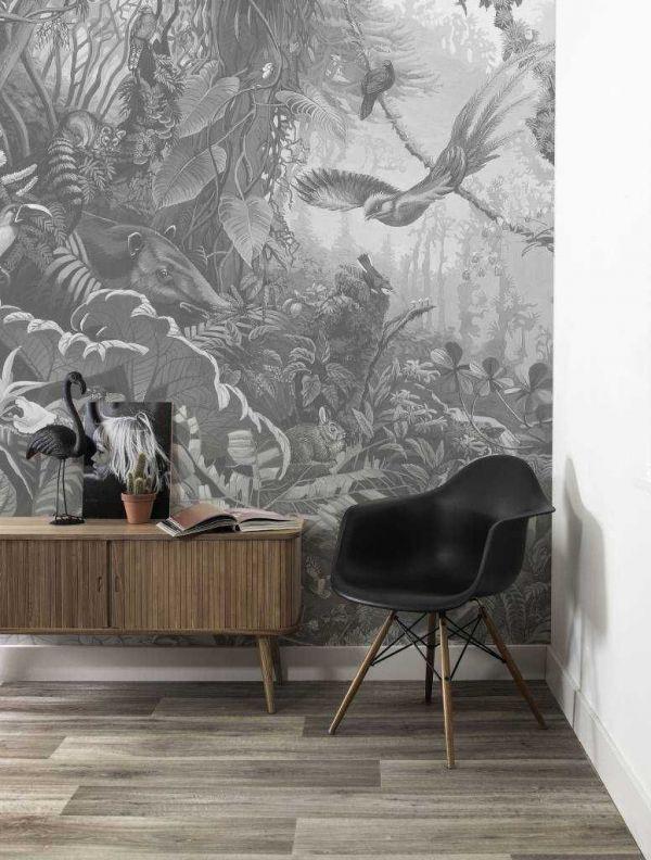 KEK Amsterdam Tropical landscapes behang zwart en wit
