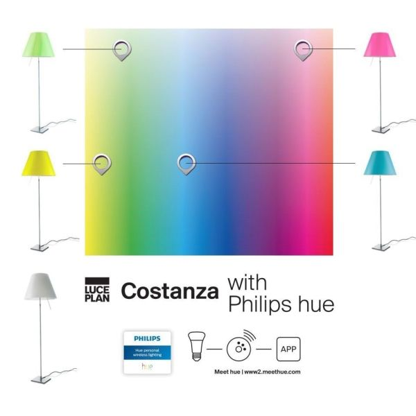 Luceplan Costanza vloerlamp telescopisch met aan-/uitschakelaar en Philips hue