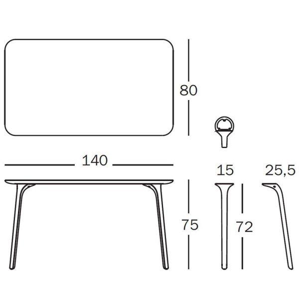 Magis Table First tafel rechthoek 140x80