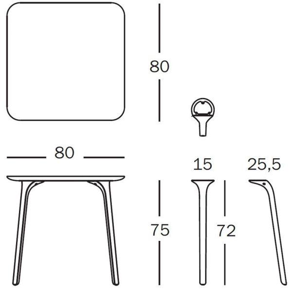 Magis Table First tafel vierkant 80x80