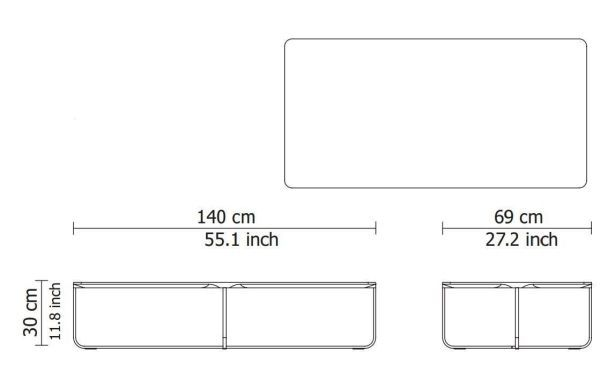 Montis Flint salontafel 140x69 rechthoek