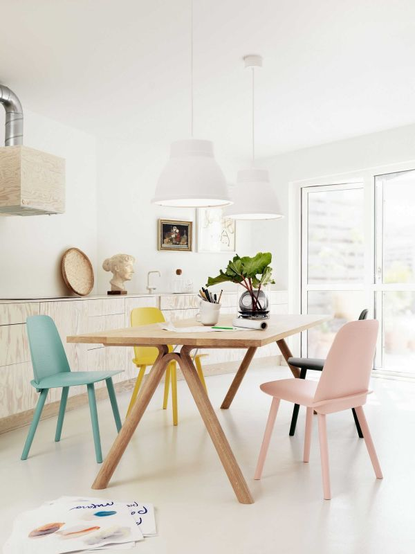 Muuto Split eettafel eetkamerset + 6 Fiber side wood stoelen