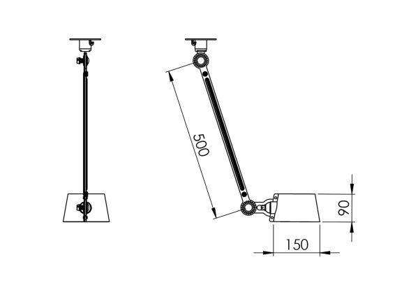 Tonone Bolt Sidefit 1 arm plafondlamp met stekker