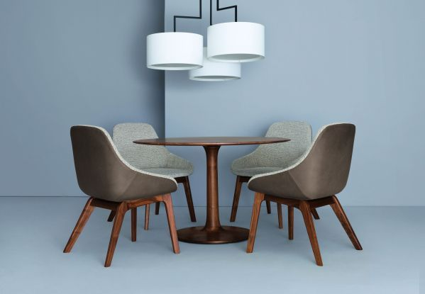 Zeitraum Morph Dining gestoffeerde stoel Amerikaans walnoten Jepard marone, Savanna 122